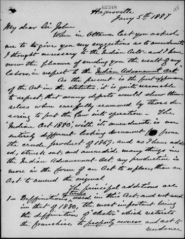 Microfilm noir et blanc d'une lettre manuscrite.