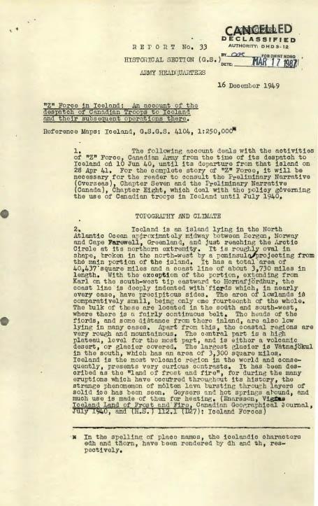 Page dactylographiée d'un rapport historique. On peut y lire, à l'encre noire sur fond blanc, les mots « Cancelled » et « Declassified » dans le coin supérieur droit.