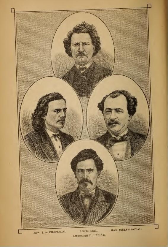 Page montrant les portraits dessinés de quatre hommes.