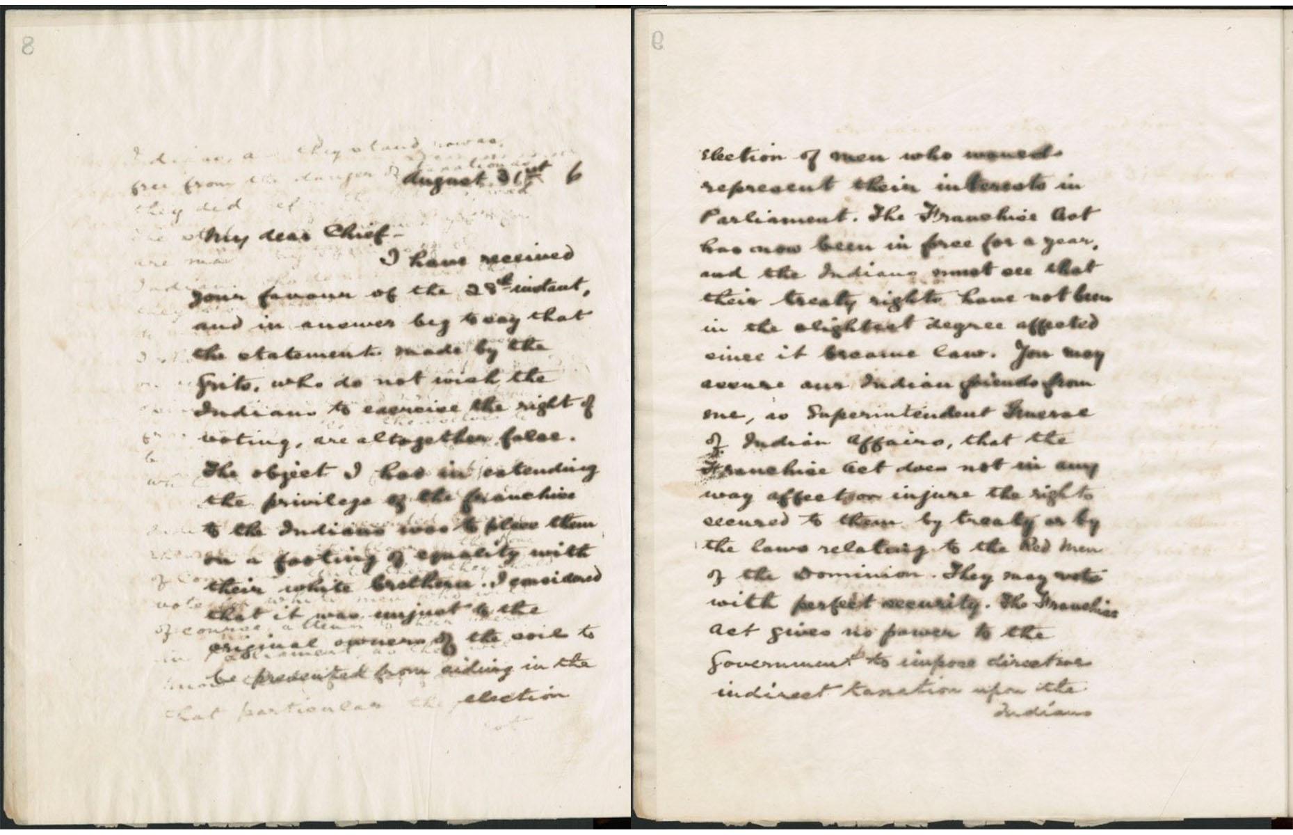 Version numérisée d'une lettre manuscrite, couleur sépia.