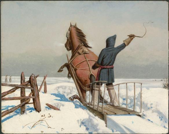 Tableau montrant une personne qui tient une cravache au-dessus de sa tête, debout sur un traîneau tiré dans la neige par un cheval brun qui se cabre.