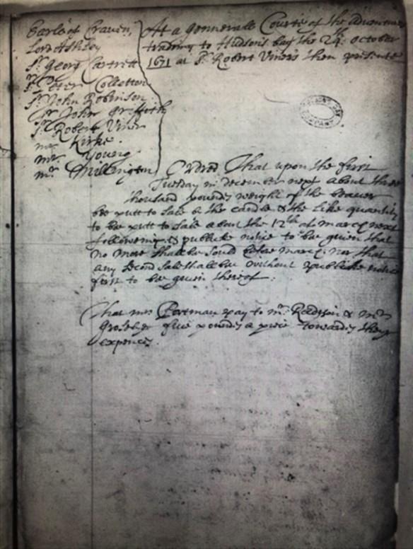 Image noir et blanc d'un registre de procès-verbaux. La date du 24 octobre 1671 est inscrite dans le coin supérieur droit. La liste des hommes ayant participé à la réunion se trouve à gauche. Le reste du texte comprend deux paragraphes décrivant la teneur des discussions.