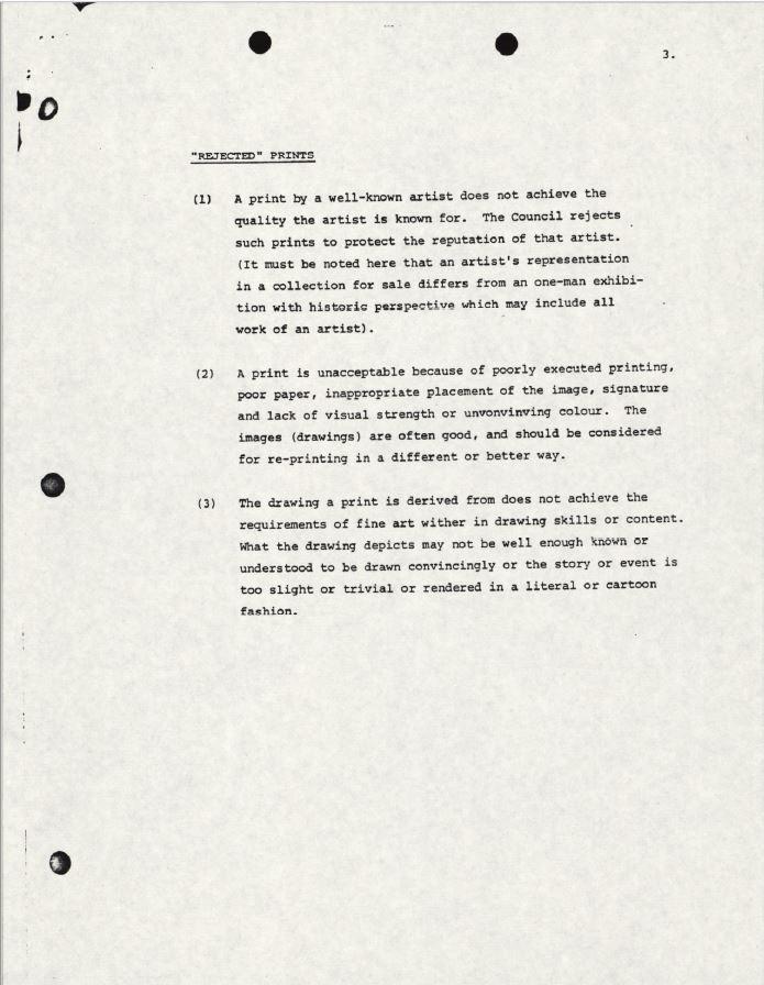"""Page d'un document où figurent trois paragraphes dactylographiés sous le titre """"Rejected Prints"""" (Gravures « rejetées »)."""