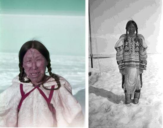 À gauche – Photographie couleur d'une femme inuk arborant des tatouages faciaux et portant un parka blanc avec des courroies rouges. À droite – Photographie noir et blanc d'une femme inuk debout dans la neige, portant un parka orné.