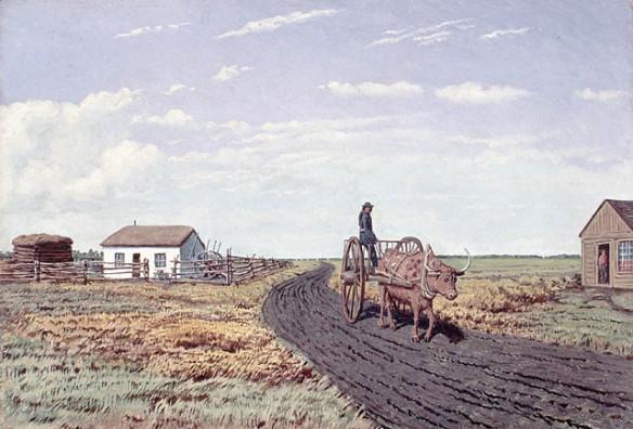 Peinture à l'huile illustrant une personne sur une charrette de la rivière Rouge tirée par un bœuf sur un chemin de terre. Une petite maison blanche et deux autres petits bâtiments se trouvent en arrière-plan.