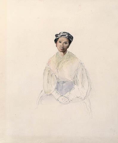 Esquisse d'un portrait d'une femme assise. L'artiste a représenté la jupe de la femme à l'aide de traits très simples, mais a peint le visage en aquarelle. La tête et le haut du portrait sont plus détaillés que le reste du corps. La femme, noire, porte un foulard de tête noir et blanc avec des motifs, un châle, une blouse à larges manches resserrées aux poignets, des gants et une jupe. Elle est assise, les mains jointes sur ses genoux, et semble regarder au loin, au-dessus de l'épaule gauche de l'observateur.
