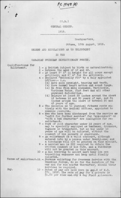 Page tapuscrite dont le titre anglais signifie : « Ordres généraux – 1915 ».