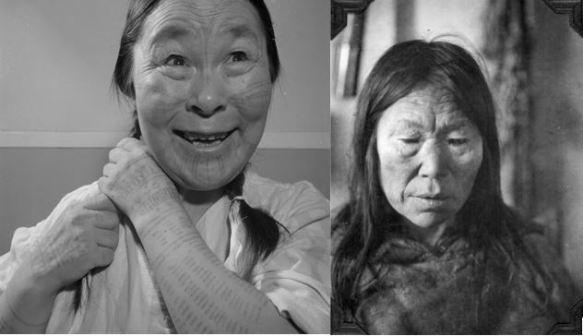 À gauche – Photographie noir et blanc d'une Inuk arborant des tatouages sur le visage et les bras, tressant ses cheveux en souriant. À droite – Photographie noir et blanc d'une Inuk portant un parka de fourrure.