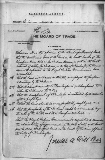 Lettre manuscrite sur un papier à en-tête de la chambre de commerce de Kamloops, apposée sur un formulaire de la Commission royale comportant un numéro de pièce.