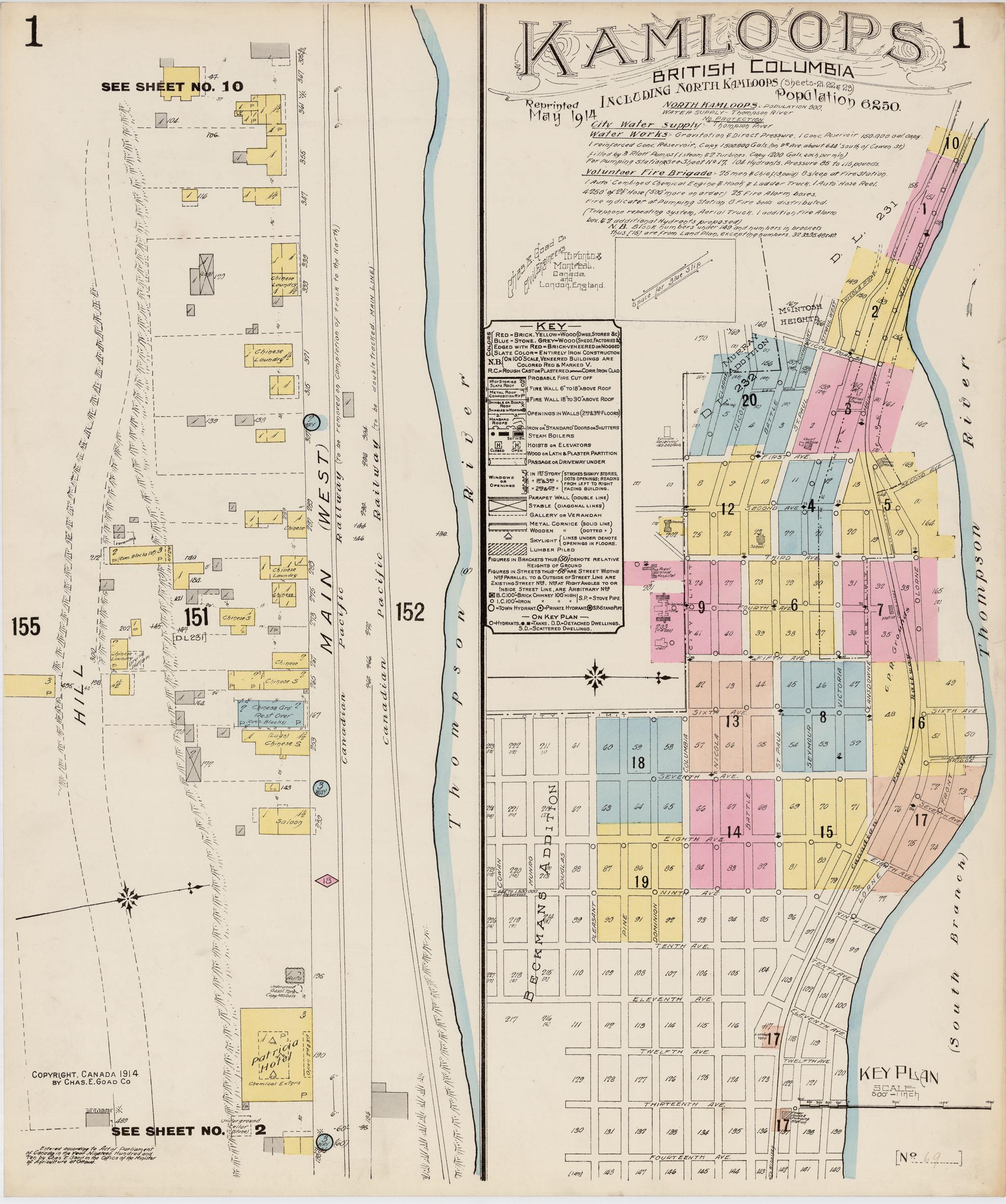 Carte à code de couleurs représentant les rues et les bâtiments d'une partie de la ville de Kamloops.