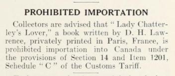 une page dactylographiée avec Prohibited Importation écrite en gras.