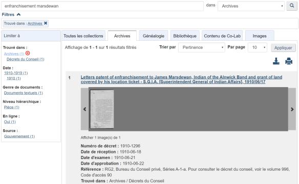 Une saisie d'écran de la base de données Recherche dans la collection.