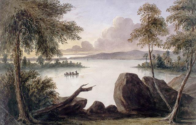 Peinture illustrant un canot sur un lac. On aperçoit une maison en arrière-plan, et des arbres et des rPeinture illustrant un canot sur un lac. On aperçoit une maison en arrière-plan, et des arbres et des rochers au premier plan.ochers au premier plan.