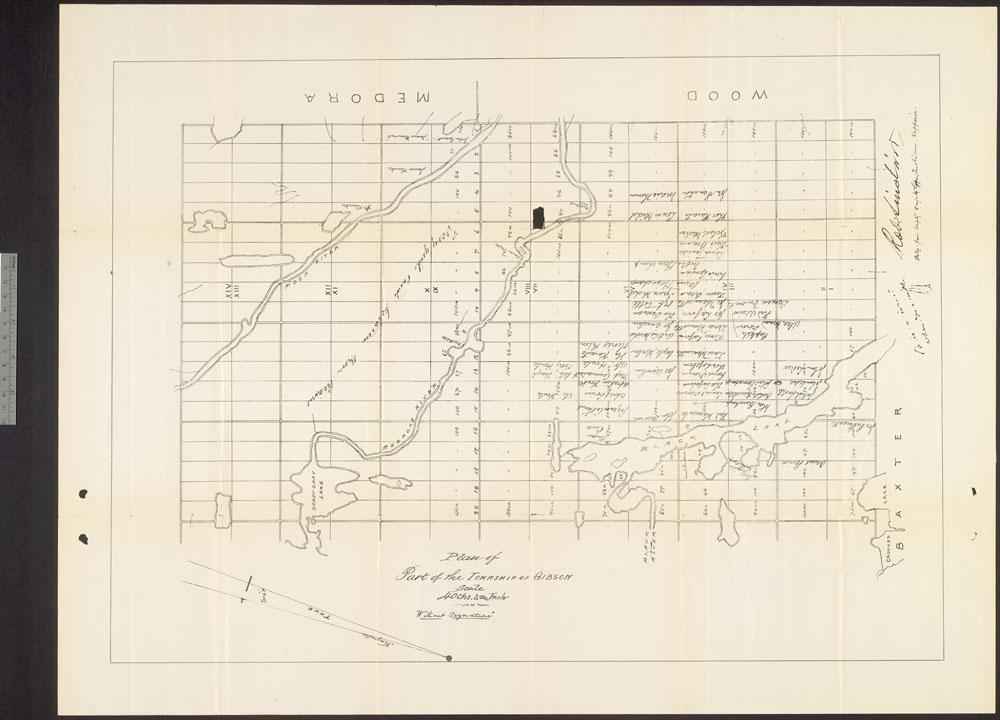 Carte montrant la grille du canton de Gibson, avec les étiquettes Medora et Wood en haut, et Baxter en bas à droite.