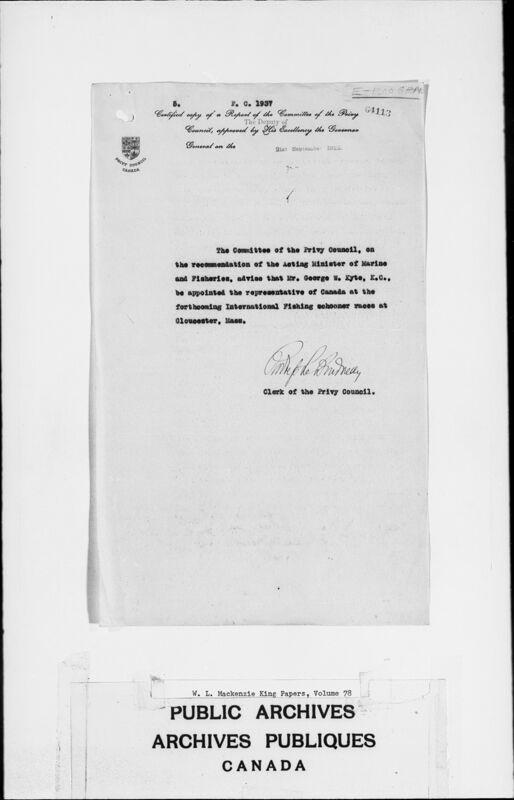 Page du décret PC 1922-1937 du Conseil privé datée du 21 septembre 1922.
