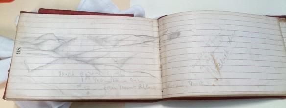 Photographie d'un carnet de notes en cuir rouge, ouvert à la page 98. Les pages sont lignées, et l'on voit un dessin au crayon représentant des montagnes et trois petites mouches. Il y a une note au bas de la page qui dit [traduction] : « Croquis de certains des monts qu'on peut voir en regardant vers le nord depuis le mont Albert ». À droite, une autre note indique [traduction] : « Incapable de terminer à cause des mouches noires ».