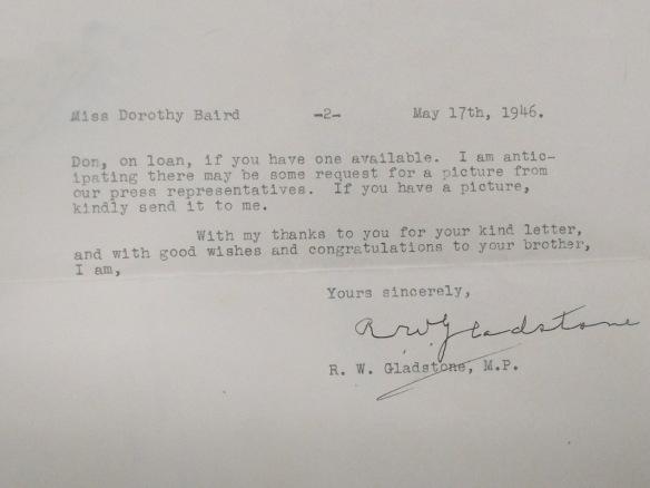 Page dactylographiée se terminant par la signature de M. Gladstone.