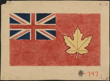 Dessin de drapeau arborant l'Union Jack en haut à gauche et une feuille d'érable dorée à droite, le tout sur arrière-plan rouge.
