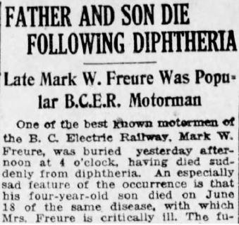 Extrait du journal Vancouver Daily World, 29 juin 1920. Article anglais ayant pour titre : « Un père et son fils succombent à la diphtérie : Feu Mark W. Freure, chauffeur de tramway très apprécié en Colombie-Britannique ».