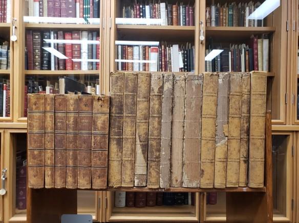 Photographie couleur sur laquelle figurent de vieux livres à couverture rigide placés sur un chariot, devant une vitrine remplie de livres.