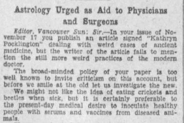 Extrait d'une lettre écrite à l'éditeur du journal Vancouver Sun, 27 novembre 1930, dont le titre anglais peut se traduire par : « L'astrologie à la rescousse des médecins et des chirurgiens ».