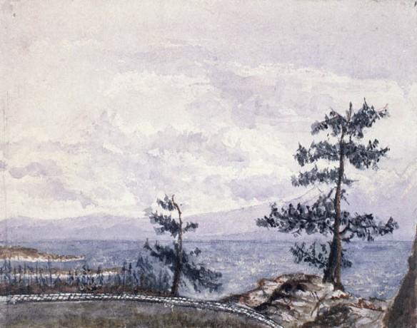 Aquarelle montrant deux arbres devant une étendue d'eau, avec une montagne à l'arrière-plan.