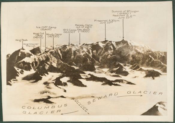 Photo du mont Logan avec le nom des sommets et des routes.